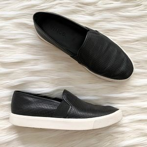 Vince Blair Perforated Black Leather Sneakers